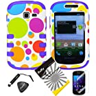 4 items Combo: ITUFFY(TM) LCD Screen Protector Film + Mini Stylus Pen + Case Opener + Blue Green Orange Purple Polka Red Yellow Colorful Dots Design Rubberized Hard Plastic + Soft Rubber TPU Skin Dual Layer Tough Hybrid Case for Samsung Galaxy Centura S738C / Samsung Galaxy Discover S730G (Straight Talk / Net10/ TracFone)