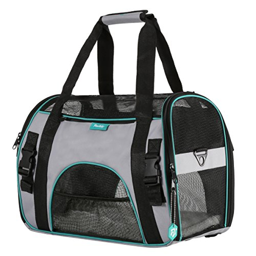 Pet Carrier for Dogs & Cats by PAWDLE Comfort Airline Approved Travel Tote Soft Sided Bag (Medium, Grey)