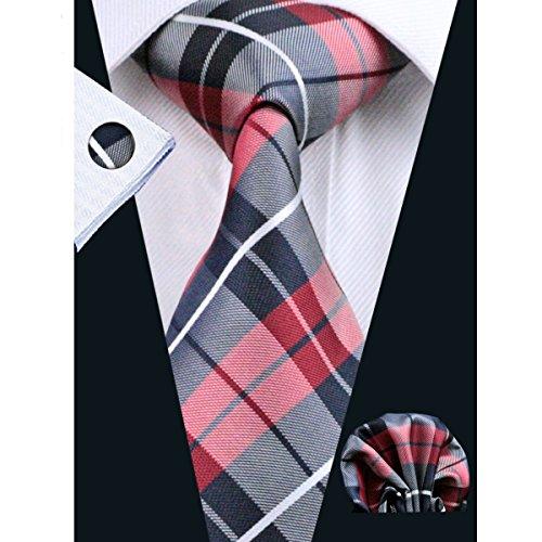 Hi-Tie Men's Tie for Suit Red Grey Plaid