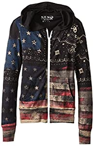 Miss Me Big Girls' American Flag Hoodie, Black, Small