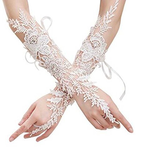 Venusvi Wedding Party White Flowers Fingerless Rhinestone Lace Bridal Glove (Ivory)