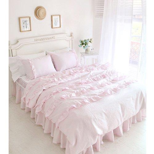 Pink Princess Wedding Bed Set Korean Romantic Ruffle Duvet Cover