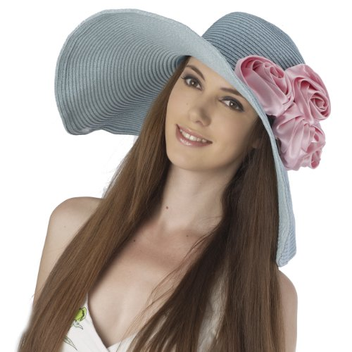 Luxury Lane Women's Blue Floppy Sun Hat with Pink Flower Appliques