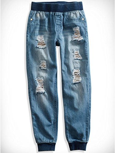 Big Girl Distressed Sequin-Lined Jogger Jeans (7-16)