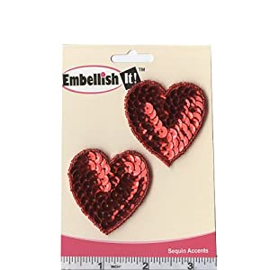 Heart Sequin Applique Pair Red By The Each