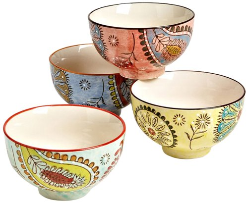 Couleur Nature Paisley Multi Ceramic Bowls, Set Of 4