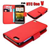 HTC One V Various Colour Smart Flip Wallet Pu Leather Phone Case Cover by eFeel (Red)