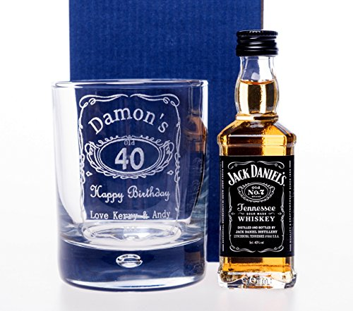 Cr8 A Gift discount duty free Engraved/Personalised Jack Daniels BIRTHDAY Design Bubble Based Glass & Miniature Gift For 18th/21st/30th/40th/50th/60th/65th/70th