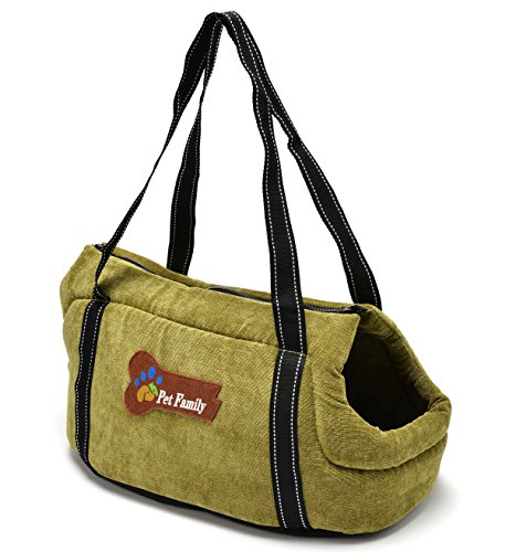 Pet Purse Carrier- Cat Dog Travel Tote Shoulder Soft Bag Purse (Large, Green)