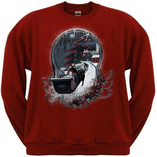 Old Glory Mens Grateful Dead - Winter Sleigh Crew Neck Sweatshirt - Medium Dark Red