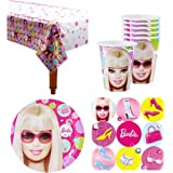 Barbie Birthday Party Supplies Pack for 16 Gu
