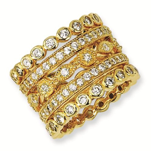 Gold-plated Sterling Silver CZ Eternity Five Ring Set - Size 7