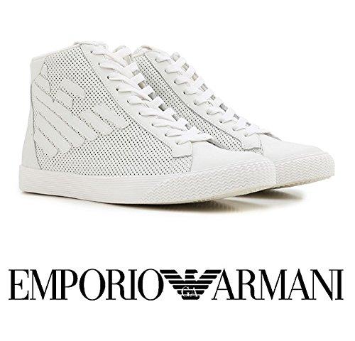 Scarpe uomo EA7 EMPORIO ARMANI, sneaker alta bianche art. 278044 6P299 (44, Bianco)
