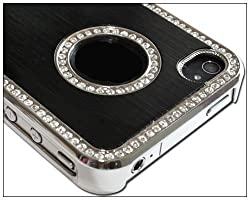 Luxury Unique Best Luxury Bling Czech Rhinestone Case Cover For Apple iPhone 4 4G 4S AT&T and Verizon Silver & Black