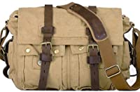 Military Vintage Classic Canvas Shoulder Messenger Bag - Khaki