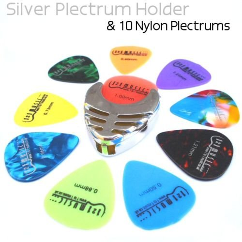 Silver Plectrum Holder and 10 guitar Plectrums
