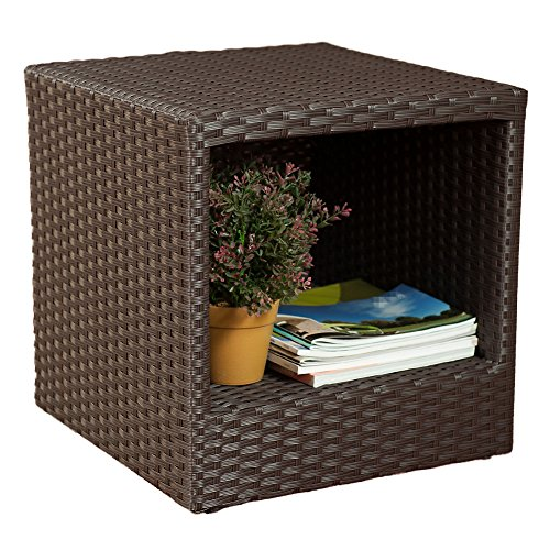 Abba Patio Outdoor Wicker Patio Square End Table Side Table with Storage, 16''W x 16''D x 16.1''H (Small Patio Side Table compare prices)