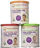 Happy Bellies Organic Super Cereals, DHA, Multi 3-Pack (1 each Brown Rice, Oatmeal, Multigrain 7oz)