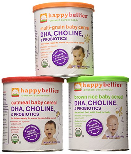 Happy Bellies Organic Super Cereals, DHA, Multi 3-Pack (1 each Brown Rice, Oatmeal, Multigrain 7oz) - 1