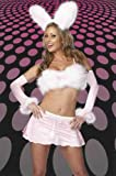 Sexy Womens Adult Pink Marabou Bunny Halloween Costume Outfit Skirt Midriff Cami Gloves Ears