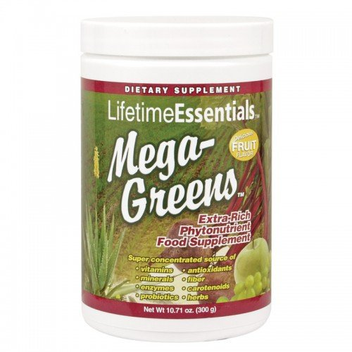 Lifetime Essentials Mega-greens, Fruit Flavor, Dietary Supplement, Extra Rich Phytonutrient Food Supplement, Vitamins, Minerals, Fiber, Antioxidants,10.71 Fl Oz (Flavor Of Green Tea Over Rice compare prices)