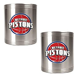 Detroit Pistons NBA 2pc Stainless Steel Can Holder Set - Primary Logo