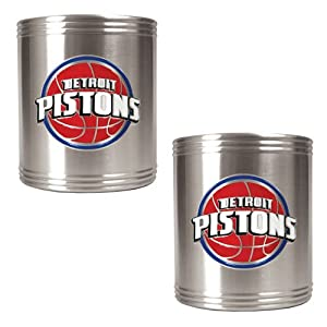 Detroit Pistons NBA 2pc Stainless Steel Can Holder Set - Primary Logo by Great American Products