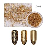 1 Box Colorful Nail Strip Metal Wire Line Matte Mirror Flakies Gel Nail Art 3D Nail Decoration Gold (Color: Gold)