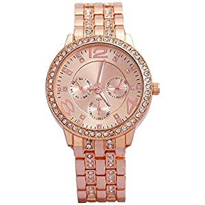 Geneva Rhinestone collection Stainless steel strap RoseGold color dial Women's watch