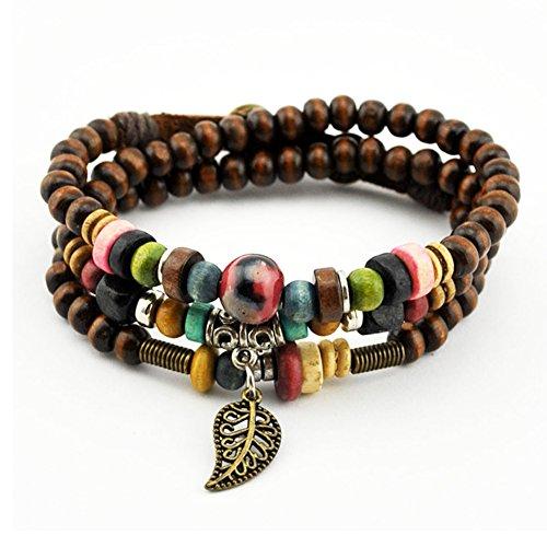 Bluegrass-Vintage-Leaf-Pendant-Tibeten-Color-of-Strand-Wooden-Beads-Handmade-Bracelet-Necklace