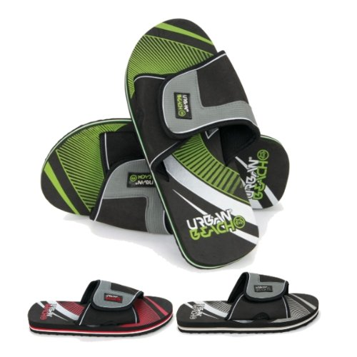 MENS BOYS URBAN BEACH SANDALS SHOES FLEXIBLE FLIP FLOPS OPEN TOE VELCRO STRAP HOLIDAY SUMMER sizes 6- 11 FW519