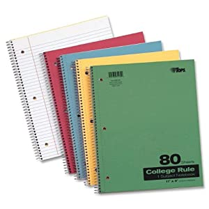 TOPS Kraft Notebook, 9 x 11 Inch, 3-Hole Punched, College Rule, 80 Sheets, Assorted Colors (65130)