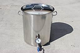 CONCORD Stainless Steel Home Brew Kettle Triply Bottom w/ 2 Welded On Couplers (Includes Thermometer and Ball Valve) (60 QT)