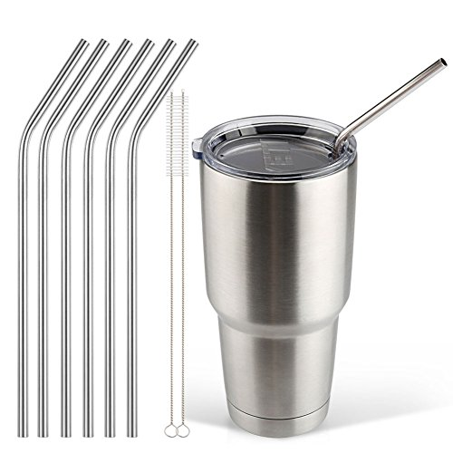 Accmor 18/8 Stainless Steel Straws, FDA-approved Reusable 10.5inch Extra Long Drinking Straws Set - 6 Bend Straws with 2 Cleaning Brushes -Great for 20 & 30 OZ Yeti Tumbler Rambler Cups (OD:0.24in)