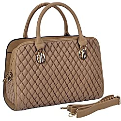 MG Collection JOANNA Taupe Quilted Top Handle Doctor Style Tote Hand Bag