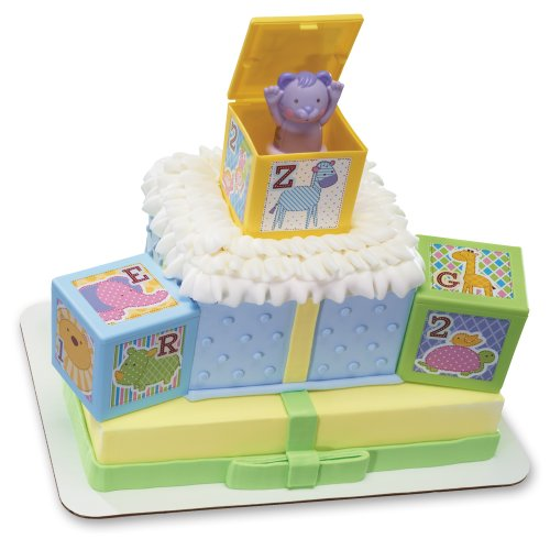 Decopac abc baby blocks signature decoset cake topper for Alphabet blocks cake decoration