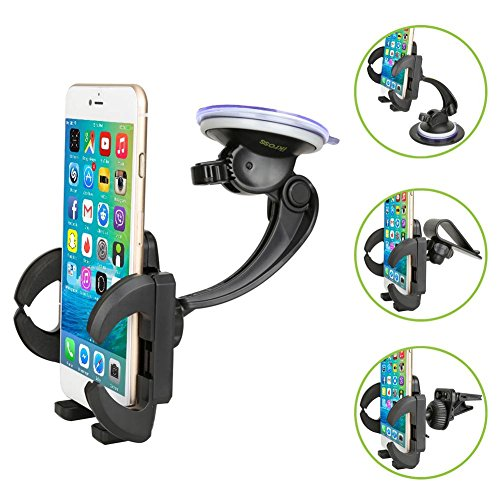Smartphone Car Mount Holder, iKross 4-in-1 Universal Windshield / Dashboard / Sun Visor / Air Vent Car Mount Cradle Holder Kit - Black (Car Sun Visor Windshield compare prices)