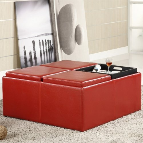 Home Creek Coffee Table Storage Ottoman with 4 Serving Trays