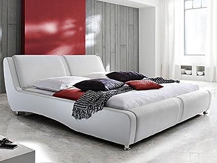 Expendio 44843687 Polsterbett, Lederimitat, weiß, 254 x 203 x 90 cm