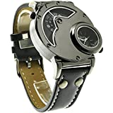 New Russian Aviator Pilot Army Military Sports Quartz Mens Wrist Watch Dual Time Black Leather Band