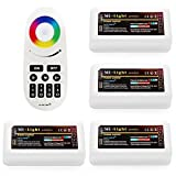 Wireless 2.4G RF RGB + White/Warm White Controller Kit, 4 x Controllers and 4-Zone Remote, Wi-Fi Bridge Compatible, 4CH Multicolor RGBW/RGBWW LED Strip Light Controller for Home, Commercial Lighting