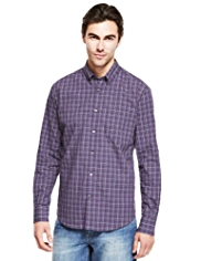 Pure Cotton Easy Care Multi Gingham Checked Shirt