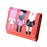 HOT! Cat Pattern Wallet ,BeautyVan Fashion New Lovely Cute Women Cat Pattern Coin Purse Short Wallet Card Holders Handbag (Red)