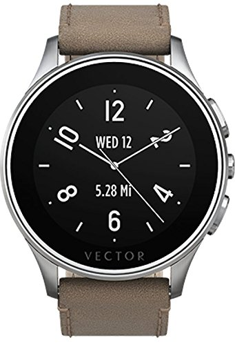 Vector Watch Smartwatch with 30 Day Battery Life - Luna-Brushed Steel/Tan