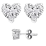 Authentic .925 Sterling Silver Heart Shaped Stud Earrings 8MM 4.00 Carat Tota Weight