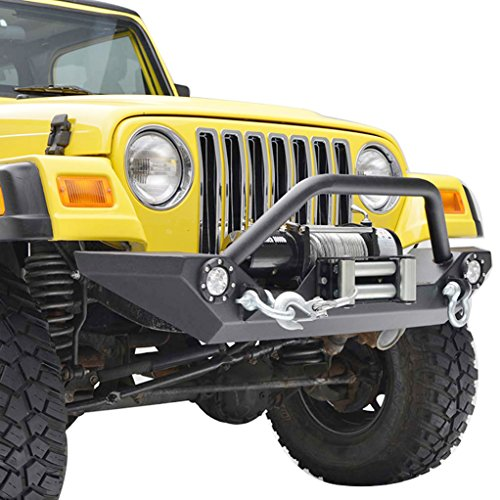 E-Autogrilles 87-06 Jeep Wrangler TJ/YJ Heavy Duty Rock Crawler Front Bumper with Winch Plate & LED Lights (51-0034L) (Front Bumper Wrangler 05 compare prices)