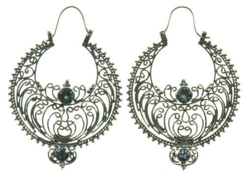 Silver Blue Stone Silk Web Earring Jewelry of Bali