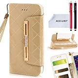 ACO-UINT Galaxy S6 Wallet Case,S6 Wallet Case,Bling Diamond Grid Leather Wallet Case with Card Slots Wrist Strap for Samsung Galaxy S6 Golden