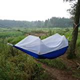 Enjoydeal Portable High Strength Parachute Fabric Hammock Hanging Bed With Mosquito Net For Outdoor Camping Travel (Blue&White)