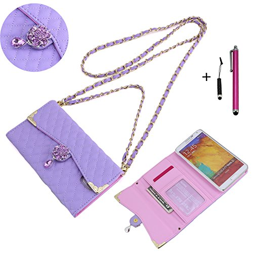 Luxury Evening Bag / Purse / Wallet Case W/ Wrist Strap And Shoulder Strap For Samsung Galaxy Note 3 (All Versions) - With Credit Card Slots And Money Slot - Clutch Purse Evening Bag Phone Case Include One Headphone Jack Stylus And One Stylus Pen (Rhinest